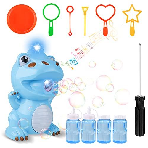 Seamuing Seifenblasenmaschine Bubble Machine Dinosaur Automatisches Seifenblasen Maschine Fun Bubble Toy für Jungen Mädchen Indoor-Outdoor-Spiele (2 Flaschen Bubble Solution und Schraubendreher)