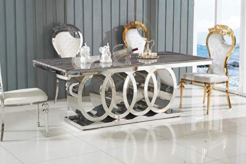 LISF THE FRANCESCA - Mesa de comedor de marmol (180 cm), color gris