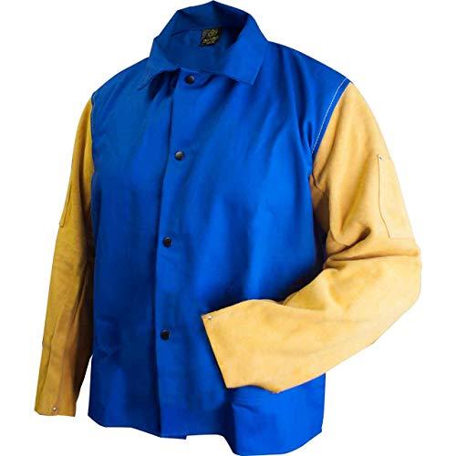 Tillman TIL9230L Large Royal Blue FR Welding Jacket w/Leather Sleeves