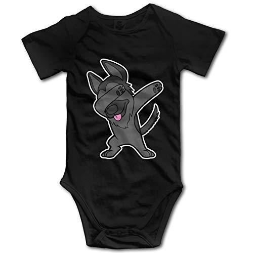 Pelo Negro Pastor Alemán Dabbing Bebé Ropa De Manga Corta Babysuit Divertido Unisex Chaleco Recién Nacido Mameluco Traje Algodón