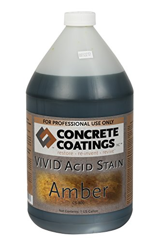 CC Concrete Coatings Vivid Acid Stain for Antique Marble Effect, Concrete Stain for Inside or Outside, Commercial or Residential Use (Amber -Slightly More Orange Than Caramel, 1 Gal)