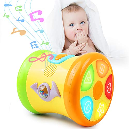 3 in 1 Toddler Musical Instruments, Baby Learning Toy with Light & Music, Toddler Drum Set Musical Toys, Baby Toys 6 to 12 months Developmental, Light up Toys for Kids Infant Boys Girls Age 1 2 3