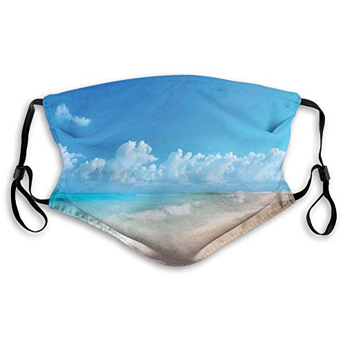 Printed Facial decorations,Tropical Seacoast Wavy Ocean Fluffy Clouds on Horizon Summer Holidays Scenery,Comfortable Windproof mask for teens and kids,S,AQ-0025021