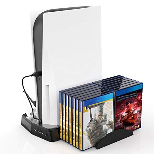 Soporte vertical con ventilador de refrigeración para consola PS5 Digital Edition / Ultra HD, base de estación de carga PS5 con 3 concentradores USB, organizador de almacenamiento en rack de juegos