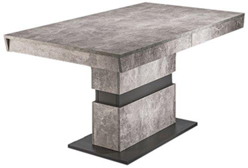 HOMEXPERTS Esszimmertisch MARLEY /Küchen-Tisch 140 cm mit Auszugsfunktion auf 200 cm /Auszugstisch Light Atelier Beton-Optik grau /Esstisch ausziehbar mit Einlegeplatte /140-200 x 90 x 75cm (LxBxH)