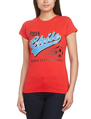 Football Fan Damen T-Shirt World Cup Football 2014 Chile Script Womens Rot, 42 (Herstellergröße: XL)