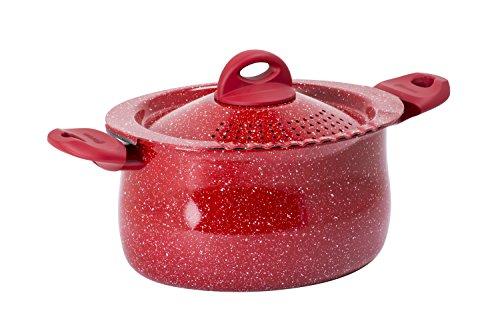 Aeternum Rubino Induction Pasta Pot con Coperchio, Alluminio, Rosso/Pietra, 26 cm, 4,7 litri