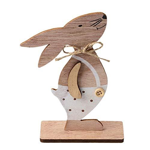 QKP 1 STÃœCK Holzschmuck Kaninchen Bunny Tischständer Tags Mit Osterei Band DIY Holz Handwerk Für Hauptdekorationen Ostern Party Favors