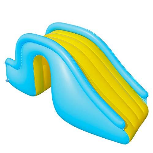 Bento Poolzubehörteile Aufblasbare Wasserrutsche,Aufblasbares Spielzentrum,Breitere Stufen Freudige Wasserspiel-Freizeitanlage-35''X24''X59'',Blau