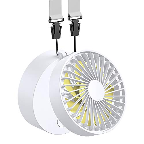 Funme Mini Ventilador de Suspensión Batería Recargable 2600mAh USB Plegable con 3 Ajustable 3-15H Horas de Trabajo Personal Ventilador Pequeño Viajes Camping Al Aire Libre-Blanco Amarillo