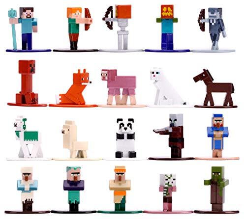 Jada Toys Minecraft 20-Pack Nano Sammelfiguren, Welle 3, 20 Stück/Set, Die-cast, 4 cm