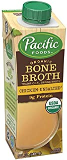 Pacific Foods Organic Bone Broth, Original Chicken, 8-Ounce Cartons, 12-Pack Keto Friendly