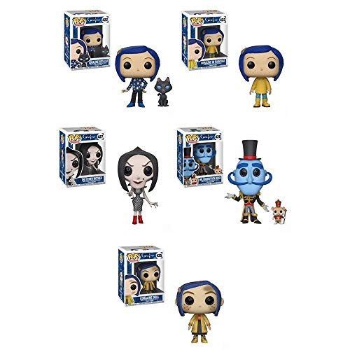 FunkoPOP Coraline: Coraline (Raincoat) + Coraline (Doll) + Coraline w/ Raincoat + Mr. Bobinsky w/ Mouse + The Other Mother - Stylized Vinyl Figure Set