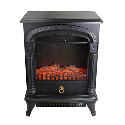Comfort Zone CZFP4 1500-Watt Electric Fireplace Stove Heater with Realistic 3D Flame Effect, Black