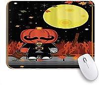 VAMIX マウスパッド 個性的 おしゃれ 柔軟 かわいい ゴム製裏面 ゲーミングマウスパッド PC ノートパソコン オフィス用 デスクマット 滑り止め 耐久性が良い おもしろいパターン (かかしハロウィーンハロウィーンのカエデの葉月ヒゲ)