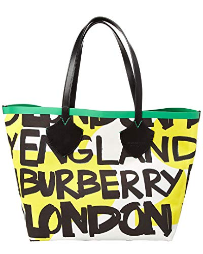 Burberry Large Graffiti Print Cotton Tote- Black/Green