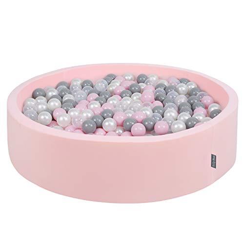 KiddyMoon Piscine À Balles 120X30cm/200 Balles Grande Rond pour Bébé, Fabriqué en UE, Rose:Perle-Gris-Transparent-Rose Poudré