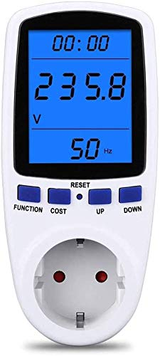 MECHEER Energiekostenmessgerät Strommessgerät Digitaler Energiekostenmesser Stromverbrauchszähler mit LCD-Hintergrundbeleuchtung 360 °-Betrachtung, Stromkostenmessgerät Leistung-Messgerät Steckdose