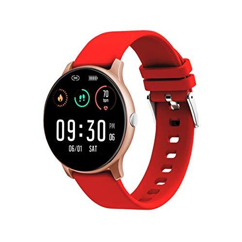 Smartwatch Damen Fitness Armband Uhr 1.08 Zoll IPS Touchscreen Fitness Tracker Sportuhr mit Schrittzähler Pulsuhr IP 67 Wasserdicht Smart Watch für iOS Android (Rot)
