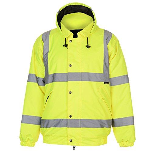 Dunlop Herren Hi Viz Bomber Jacke Wasserdicht Windjacke Mit Kapuze Sichtbarkeit Gelb Medium