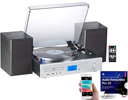 auvisio Stereoanlage: 5in1-Plattenspieler/Digitalisierer, CD, Bluetooth, Kassette, MP3, FM (Schallplatten digitalisieren)