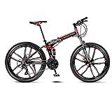 Bicicleta amortiguadora MTB de la Bicicleta 10 Ruedas de radios Plegables 24/26 Pulgadas de Doble Frenos de Disco (21/24/27/30 Velocidad) Bicicleta Plegable (Color : 30 Speed, tamaño : 26inch)