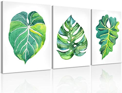 Green Plant Wall Art, Simple 3 Piece Leaf Wall Decor, Minimalist Watercolor Leaves Prints, Small Botanical Pictures, Framed Tropical Painting Print Set, Canvas Wall Art for Bedroom, Bathroom & Office