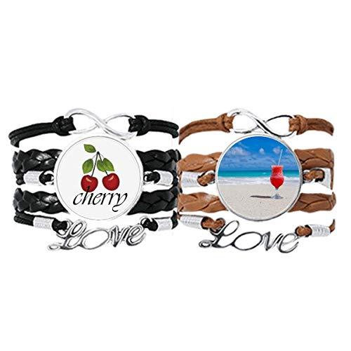 Bestchong Ocean Sand Strand Wassermelone Saft Bild Armband Handschlaufe Leder Seil Kirsche Liebe Armband Doppelset