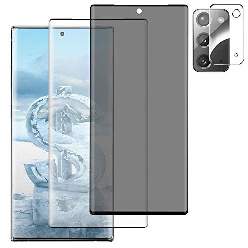 [3 Pack] Galaxy Note 20 5G Screen Protector + Privacy Screen Protector Tempered Glass + Camera Lens Protector [9H Hardness] [Anti-Spy] [3D Curved] HD Clear Film for Samsung Galaxy Note 20 (6.7 Inch)