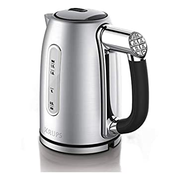 KRUPS BW710D51 Cool-touch Stainless Steel Electric Kettle with Adjustable Temperature 1.7-Liter Silver