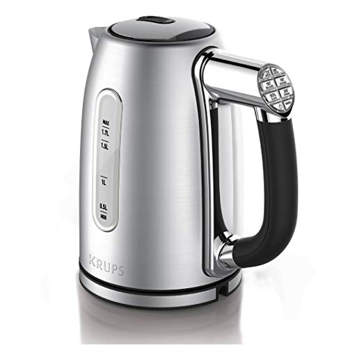KRUPS BW710D51 Cool-touch Stainless Steel Electric Kettle with Adjustable Temperature, 1.7-Liter, Silver