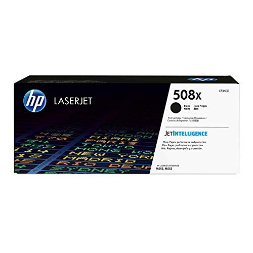 HP 508X | CF360X | Toner Cartridge | Works with HP Color LaserJet Enterprise M553 series, M577 series | Black | High Yield