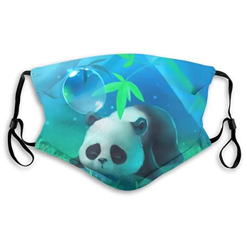 Máscara facial con diseño de panda de bambú en el océano, ajustable, pasamontañas y pañuelos con papel de filtro para niños, adolescentes, hombres y mujeres, S