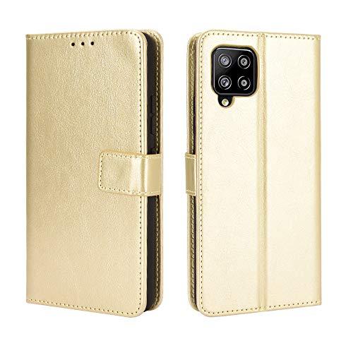 BaiFu Lederhülle für Samsung Galaxy A42 5G Hülle, Flip Hülle Schutzhülle Handy mit Kartenfach Stand & Magnet Funktion als Brieftasche, Tasche Cover Etui Handyhülle für Samsung Galaxy A42 5G, Golden