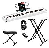 Korg D1 WH - Piano digital (incluye pedal, atril, auriculares, banco para teclado, soporte para...