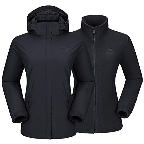 CAMEL CROWN Women's Ski Jacket Waterproof 3 in 1 Winter Jacket Windproof Warm Fleece Hooded Snowboard Mountain Snow Coat (Black-1, Large)