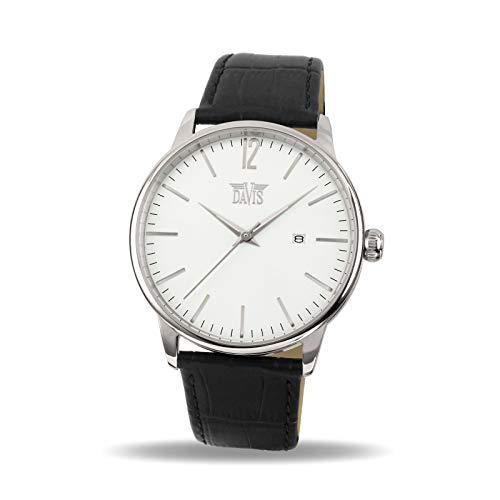Davis-Orologio Retro Vintage Uomo Quadrante Bianco Data (Acciaio/Cinturino...