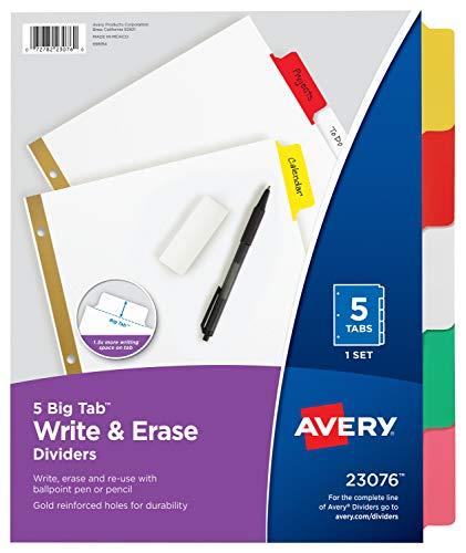 AVERY Big Tab Write & Erase Dividers, 5 Multicolor Tabs, 1 Set (23076), 1-pack