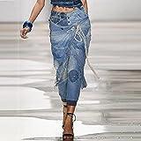 VooZuGn Pantalones Vaqueros de Mujer Pantalones de Moda de Cintura Alta para Madre Pantalones de Primavera y Verano Vestido de Calle Retro Pantalones Anchos Sueltos