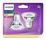 Philips 929001215231 - Pack de 2 Bombillas LED,luz blanca cálida, casquillo GU10, consume 4.6 W (equivalente a 50 W), luz blanca cálida no regulable
