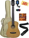 Tanglewood TW2-TS Spruce Top Mahogany Travel Guitar Bundle with Gig Bag, Tuner, Strap, Strings, Picks, Austin Bazaar Instructional DVD, and Polishing Cloth