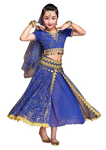 Happy Cherry Tenue de Danse Orientale Enfant Costume Danse Indienne Fille pour Déguisement Halloween Carnaval Robe Danse Ventre Deguisement Bollywood Fille 4-6 Ans Bleu