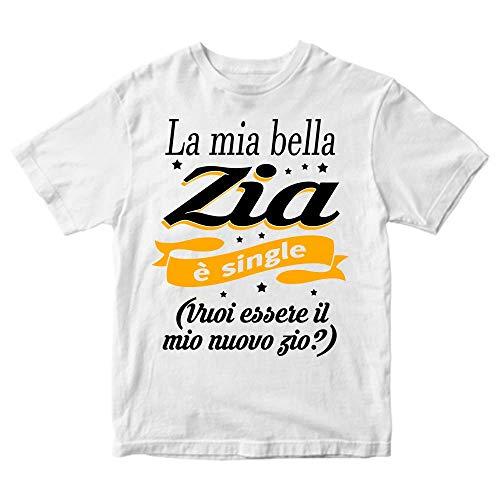 Maglietta Bambina La mia Bella Zia è Single (Bianco, 3-4 Anni)