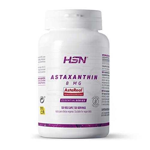 Astaxantina de HSN   8 mg AstaREAL   Suministro para 4 Meses   Antioxidante + Antiinflamatorio + Salud Ocular + Apoyo Inmunológico   Vegano, Sin Gluten, Sin Lactosa, No GMO, 120 Cápsulas Veget