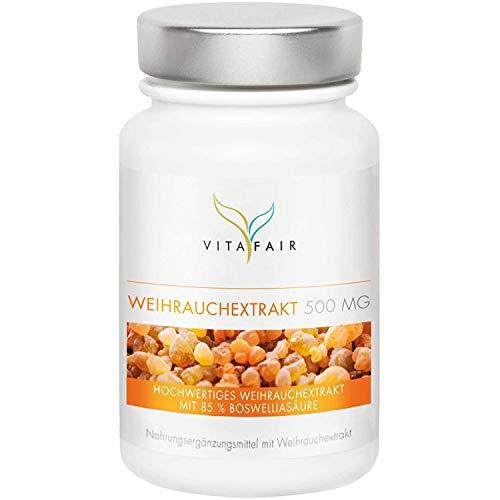 Boswellia Serrata Extrakt - 500mg pro Tagesdosis - 120 Kapseln - 85% Boswelliasäure = 425mg - Hochdosierte Weihrauch-Kapseln - Vegan - Ohne Magnesiumstearat - German Quality