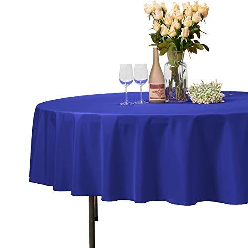 VEEYOO - Tovaglia Rotonda o Quadrata in Diverse Misure, Colore a Tinta Unita, Ottima per apparecchiare la tavola per Matrimoni, ristoranti, Eventi, Tessuto, Royal Blue, Rotondo-229 cm