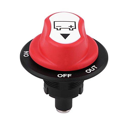 Qiilu Interruptor del aislador de la batería del Coche Máx 50V 50A Cont 75A INT Encendido/Apagado para Auto/vehículos Fuera de Carretera/Camiones