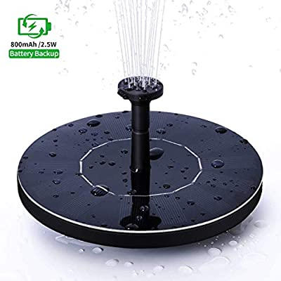 Ankway 2.5W Solar Fountain with 800mAh Battery, Upgrade Version Solar Powered Fountain Pump for Bird Bath,Garden Backyard Pond Pool Outdoor,Free Standing Floating Solar Water Fountain with 7 Nozzle