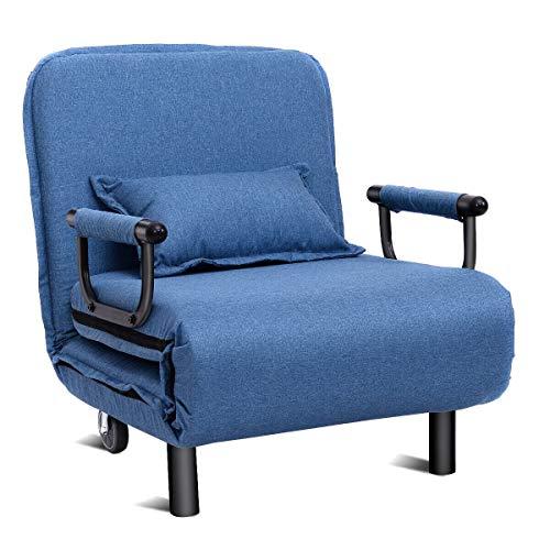 Kosoree 3 In 1 Schlafsessel Schlafsofa Klappbett Gästebett Klappsessel Sofabett Kissen (Color : Blau)