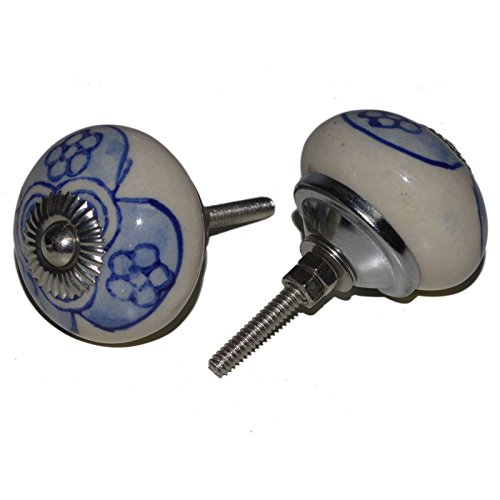 Meubelknoppen meubelknop meubelgreep keramiek porselein handgeschilderd vintage meubelknoppen voor kast Indisch 60 4 cm blauw